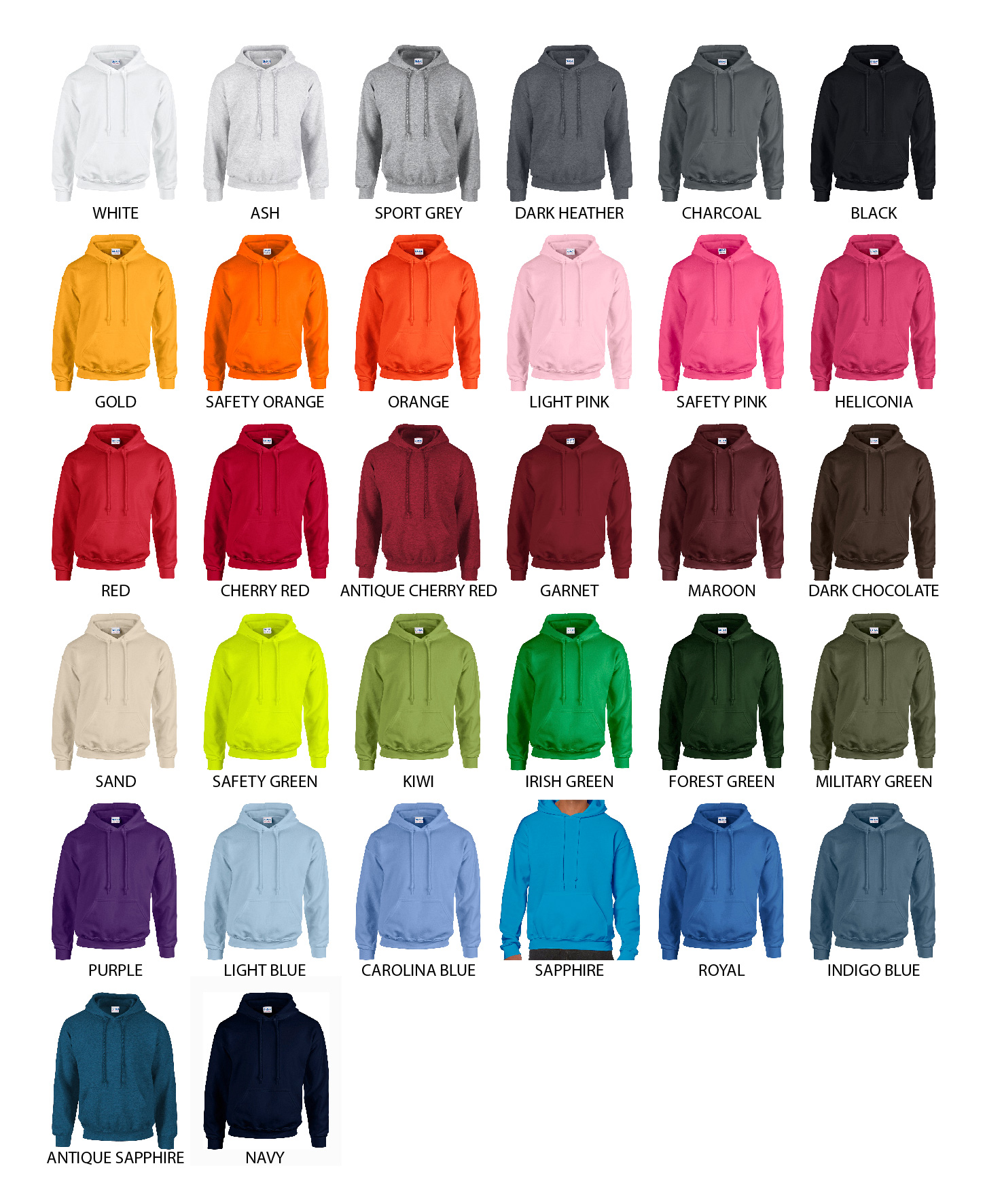 Guide des couleurs de sweat